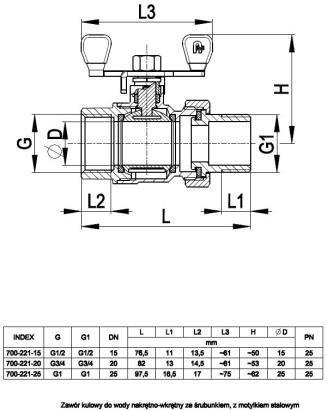 ARMATURA KRAKÓW - zawór wodny, pełnoprzepływowy, nakrętno-nakrętny z dławikiem 700-221-25
