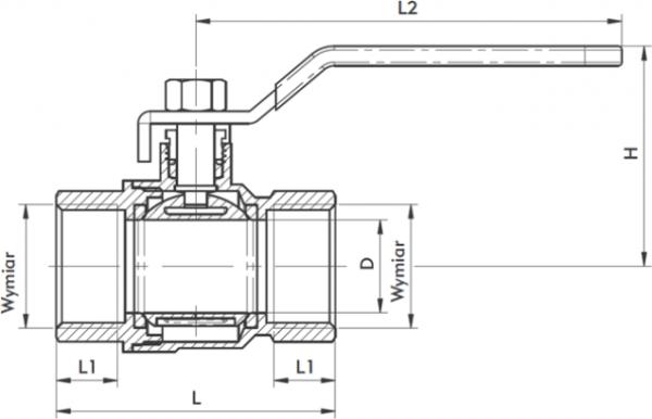 ARMATURA KRAKÓW - zawór wodny, pełnoprzepływowy, nakrętno-nakrętny z dławikiem 700-110-50