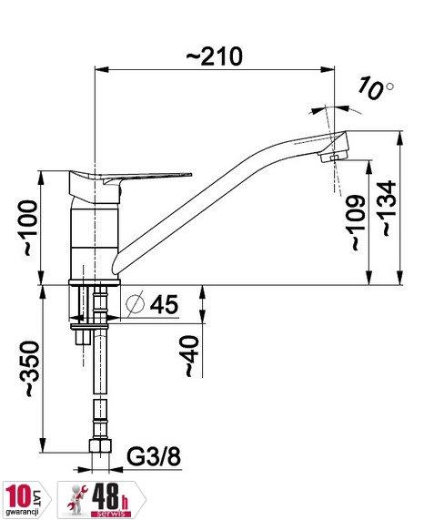 ARMATURA KRAKÓW - Bateria jednouchwytowa, zlewozmywakowa stojąca LEONIT 5313-915-00