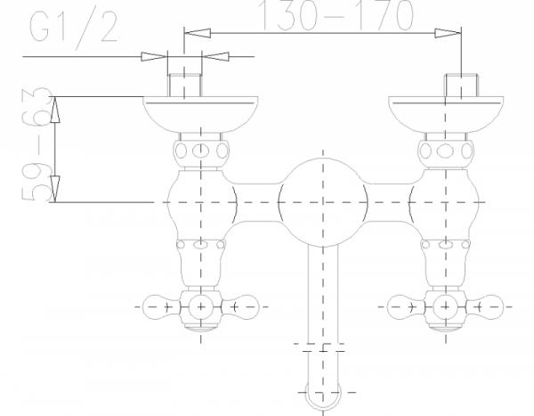 ARMATURA KRAKÓW - Retro Classic Bateria zlewozmywakowa Ścienna 380-420-00