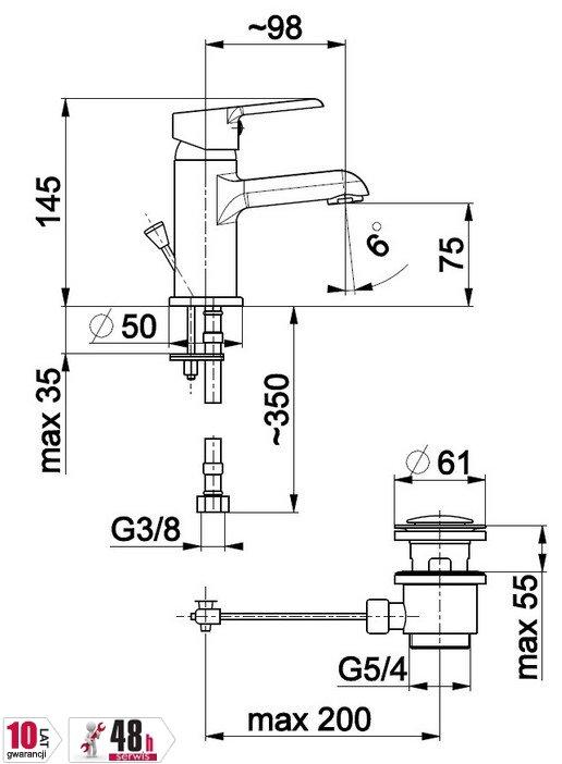 ARMATURA KRAKÓW - Bateria jednouchwytowa, umywalkowa stojąca SEELIT 5812-815-00