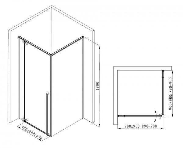 REIHE Kabina prysznicowa czarna drzwi uchylne AXON 80x80 LEWA