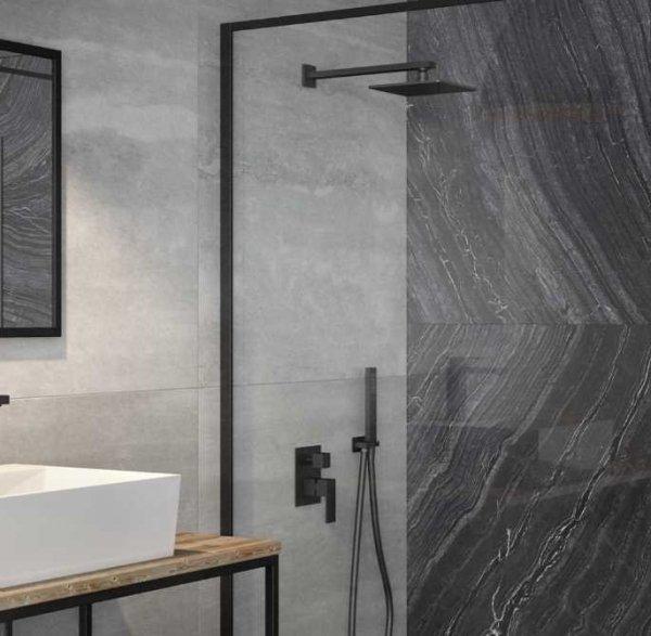 BESCO - Zestaw natryskowy prysznicowy podtynkowy  VARIUM/MODERN II CZARNY MATT  ULTRASLIM BP-MVII-CZ