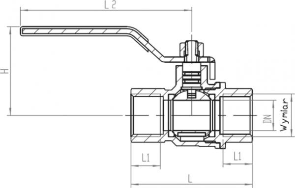 ARMATURA KRAKÓW - kurek kulowy do gazu, nakrętno-nakrętny z dźwignią 730-110-20