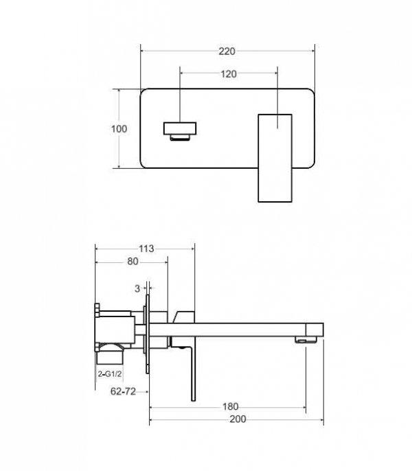 BESCO - Bateria umywalkowa podtynkowa czarny matt VARIUM BU-MVS-CZ