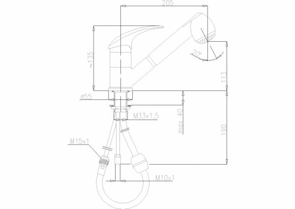 ARMATURA KRAKÓW - Ametyst bateria zlewozmywakowa stojąca 403-110-00