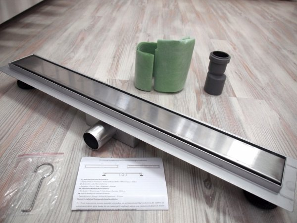AQUALine - Odpływ liniowy 2w1 NEMO POSADZKOWY do wklejenia płytki lub gładka maskownica ROZMIARY 50-200cm!! L04