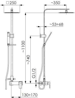 ARMATURA KRAKÓW - deszczownia CASSINI z bateria natryskową 4126-912-00