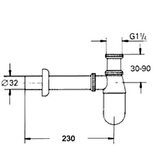ARMATURA KRAKÓW - Syfon umywalkowy butelkowy mosiądz bez korka 601-054-00