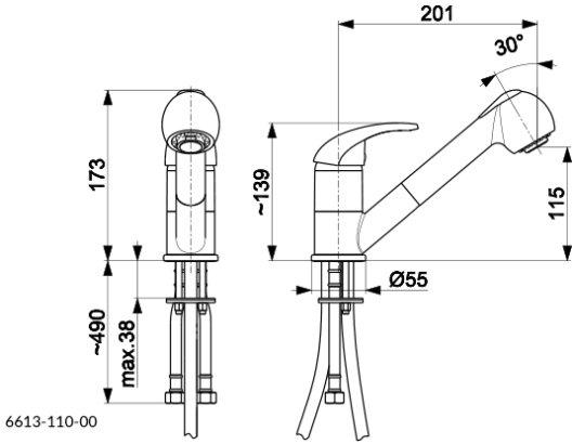 ARMATURA KRAKÓW KFA Bateria kuchenna z wyciąganą wylewką INDIRA 6613-110-00