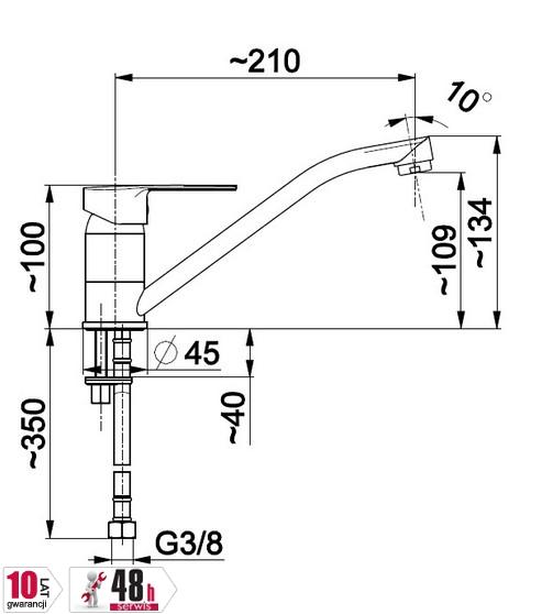 ARMATURA KRAKÓ - Bateria zlewozmywakowa, jednouchwytowa stojąca MOHIT 5913-915-00