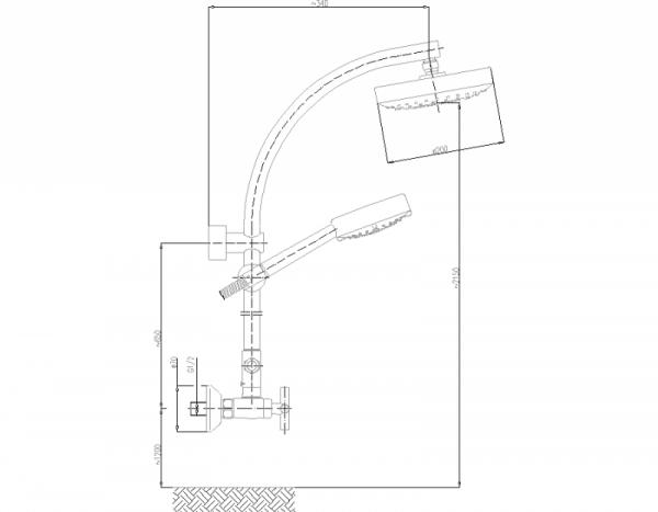 ARMATURA KRAKÓW - Zestaw natryskowy deszczownia DUNA do baterii natryskowych 841-190-00