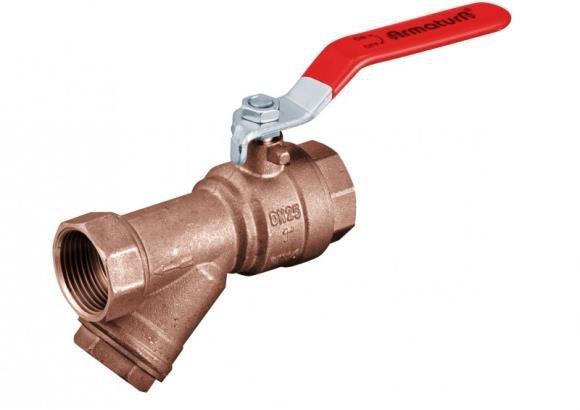 ARMATURA KRAKÓW -zawór wodny z filtrem skośnym, z dźwignią i z dławikiem 708-010-15
