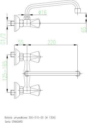 ARMATURA KRAKÓW - STANDARD bateria umywalkowa dwuuchwytowa 300-510-00