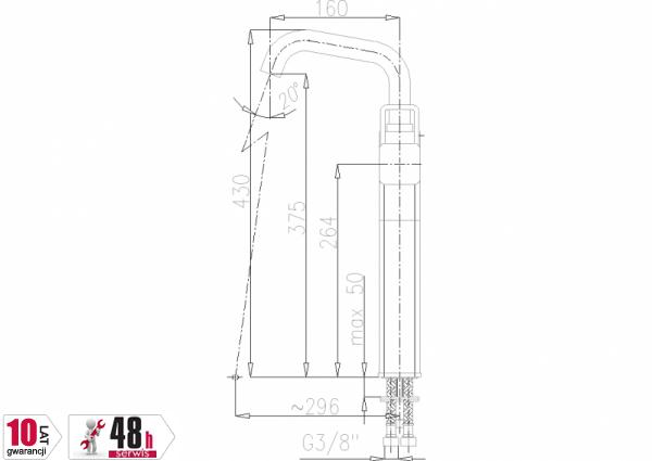 ARMATURA KRAKÓW - Brylant Bateria umywalkowa stojąca (wylot u) 4302-612-00