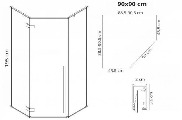 REA - Kabina prysznicowa narożna DIAMOND BLACK MAT 90x90