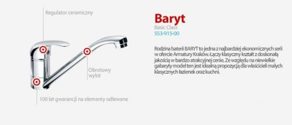 ARMATURA KRAKÓW - BARYT bateria umywalkowoa ścienna 550-810-00