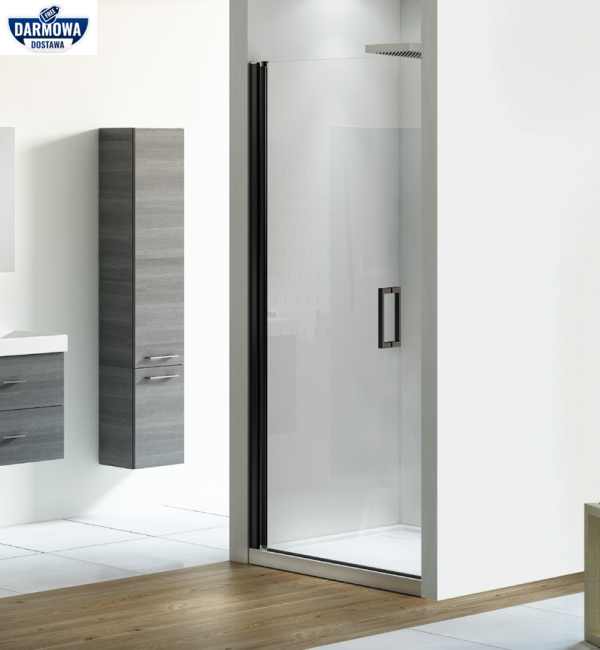 NEW TRENDY - Drzwi wnękowe prysznicowe NEGRA czarne profile Rozmiary 90cm EXK-1128