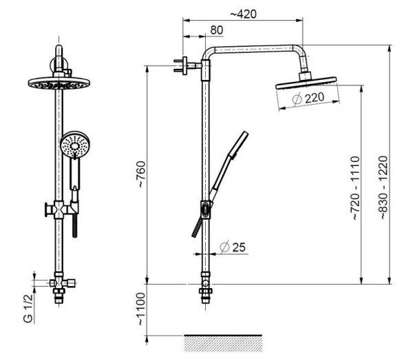 ARMATURA KRAKÓW - Zestaw natryskowy deszczownia LUNA do baterii natryskowych 841-194-00
