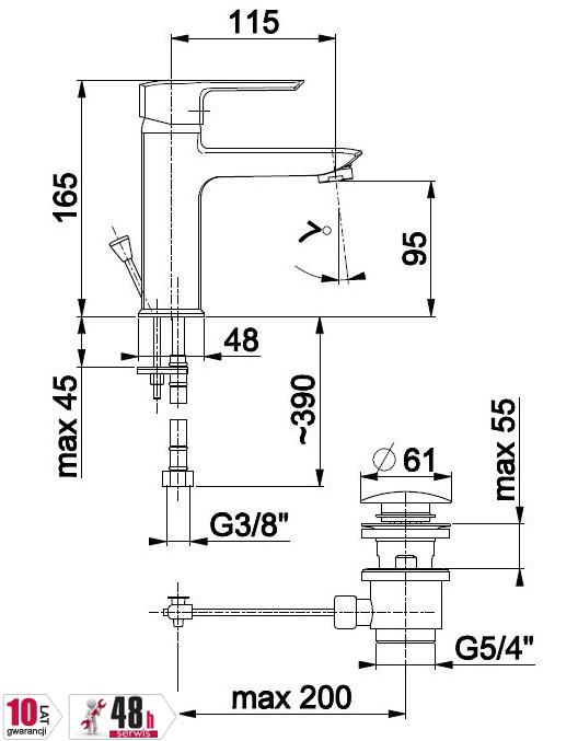 ARMATURA KRAKÓW -  Bateria jednouchwytowa, umywalkowa stojąca AQUAMARYN 4612-815-00