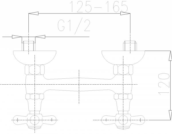 ARMATURA KRAKÓW - Retro Bateria natryskowa z natryskiem punktowym 376-540-00