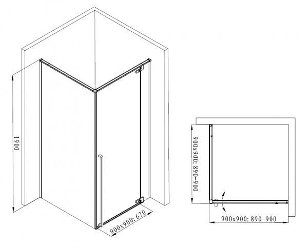 REIHE Kabina prysznicowa czarna drzwi uchylne AXON 90x90 PRAWA