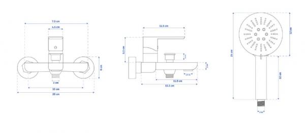 REA - Bateria wannowa SKY WHITE biała ścienna + słuchawka