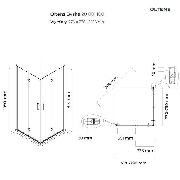 OLTENS Kabina prysznicowa kwadratowa 80x80 BYSKE 20001100