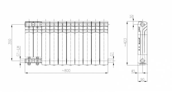 ARMATURA KRAKÓW - Grzejnik aluminiowy G 350 F 790-100-44