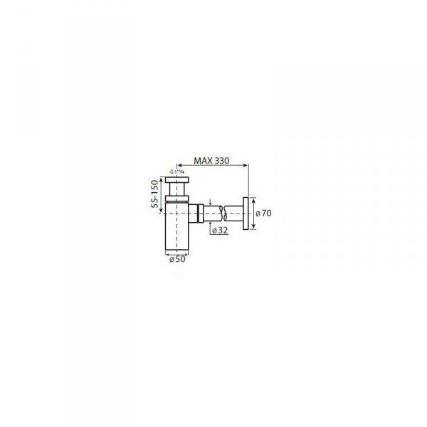 VEDO - syfon umywalkowy UNO czarny mat VSY1010CZ