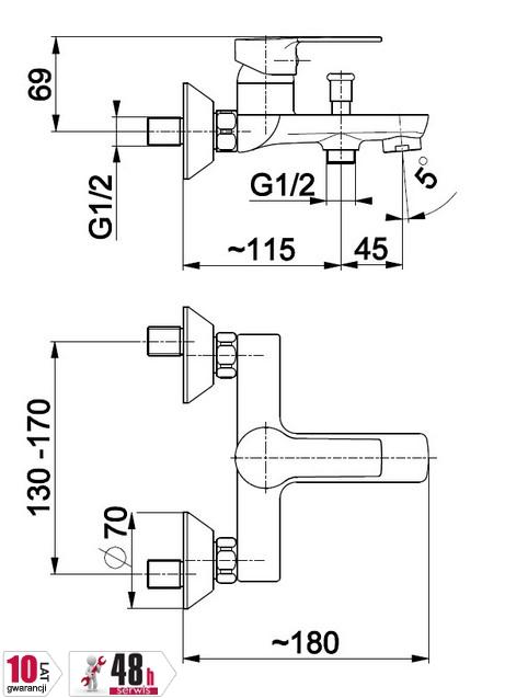 ARMATURA KRAKÓW - bateria wannowa jednouchwytowa ścienna MOHIT 5914-010-00
