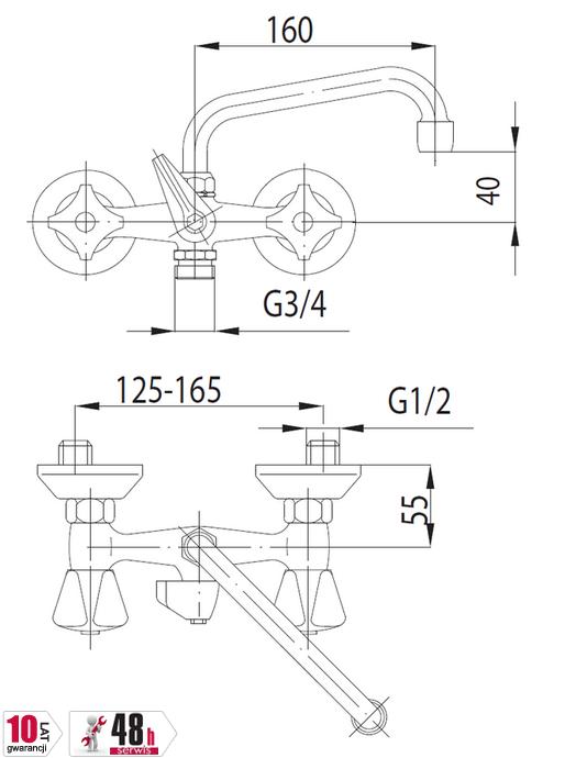 ARMATURA KRAKÓW - Bateria umywalkowa ścienna z podłączeniem pralki uchwyt chromowany 300-319-00