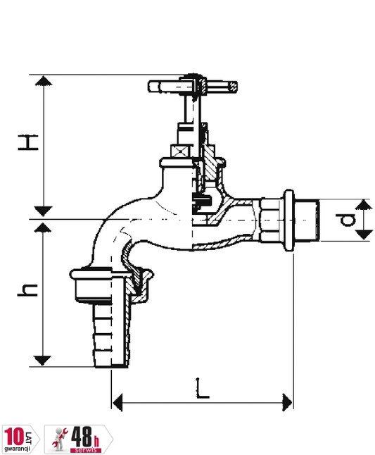 ARMATURA KRAKÓW - Zawór wodny, wypływowy 1/2 czerpalny z szybkozłączką 190-112-07