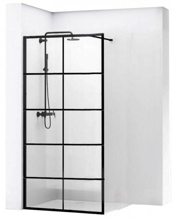 REA - Ścianka prysznicowa BLER-1 black/czarna 70 80 90