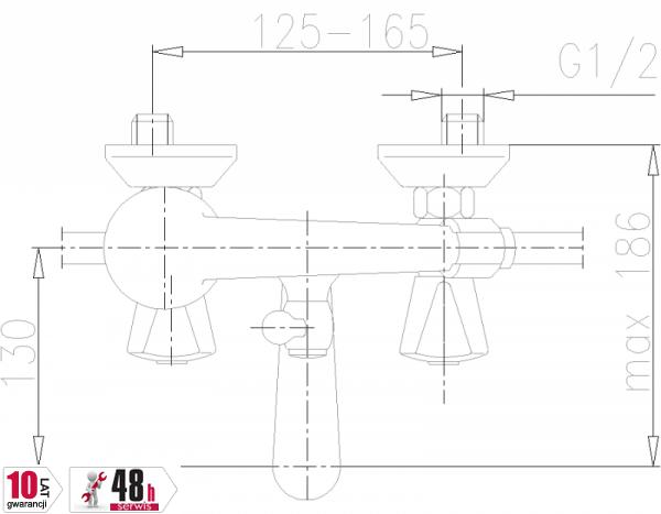 ARMATURA KRAKÓW - Ceramik Bateria dwuuchwytowa, wannowa 334-115-00