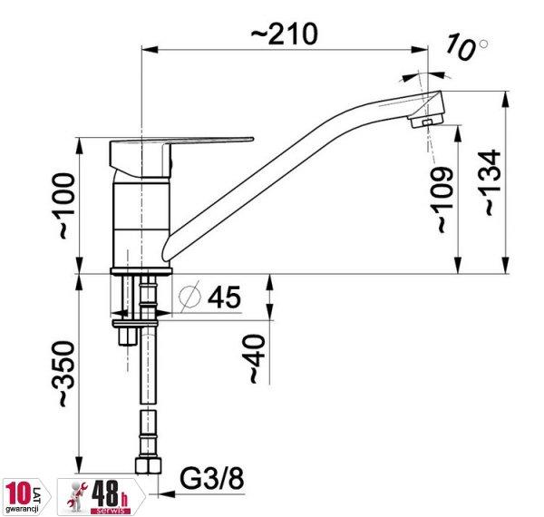 ARMATURA KRAKÓW - Bateria jednouchwytowa, zlewozmywakowa stojąca SOFIT 5113-915-00