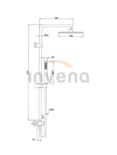 INVENA - Deszczownica SVART z baterią termostatyczną Czarna/Black  AU-85-004-X