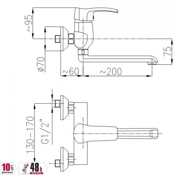 ARMATURA KRAKÓW - Bateria zlewozmywakowa / kuchenna jednouchwytowa KWARC 4200-910-00