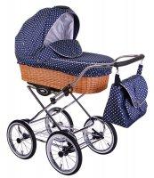 CLASSICO RETRO | 2 in 1 mit Liegewanne und Sportwagen | oder 3 in 1 mit Autoschale | Kombi-Kinderwagen |  Blau, gepunktet | Naturweidenkorb