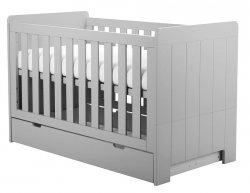 CAROLE Babybett / Kinderbett mit Bettschublade und Seitenteil | 70 x 140 cm | grau