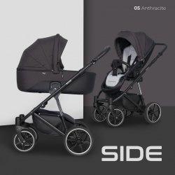 Classico SIDE | 2 in 1 mit Liegewanne und Sportwagen | oder 3 in 1 mit Autoschale | Kombi-Kinderwagen | Schwarz/ Anthrazitgrau
