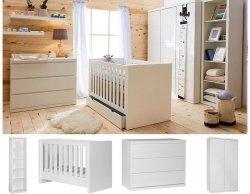 LORA Babyzimmer / Kinderzimmer Sparset | 4-teilig | Kinderbett 140 x 70 cm + Kommode + Schrank 2-türig + Regal | weiß matt