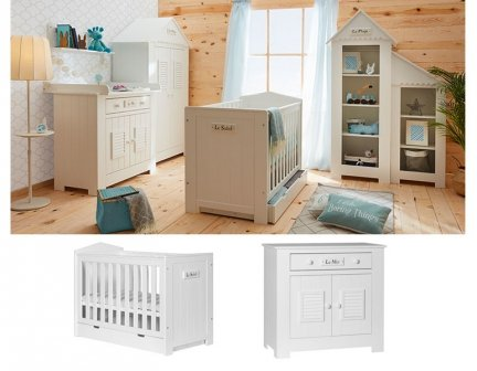 LAMARE Babyzimmer / Kinderzimmer Sparset | 2-teilig | Kinderbett + Kommode | weiß