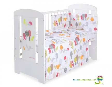 Babybett | Gitterbett | Kinderbett SECRET FORESTr GREY | Kiefer massiv | Weiß lackiert