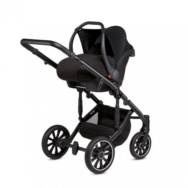 ANEX m-Type SPLASH/ Dunkelblau/Schwarz | Kombi-Kinderwagen 2 in 1 mit Babywanne und Sportwagen | oder 3 in 1 mit Autoschale