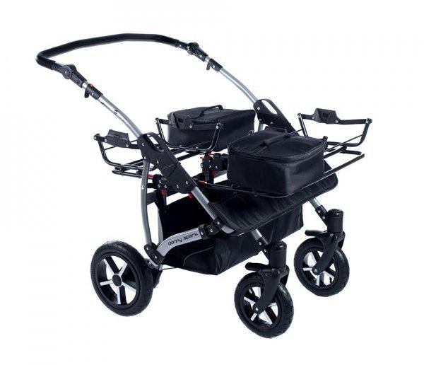 Zwillingskinderwagen/ Geschwisterwagen TWIN Basic, SCHWARZ | + Pannensichere Räder KOMFORT+