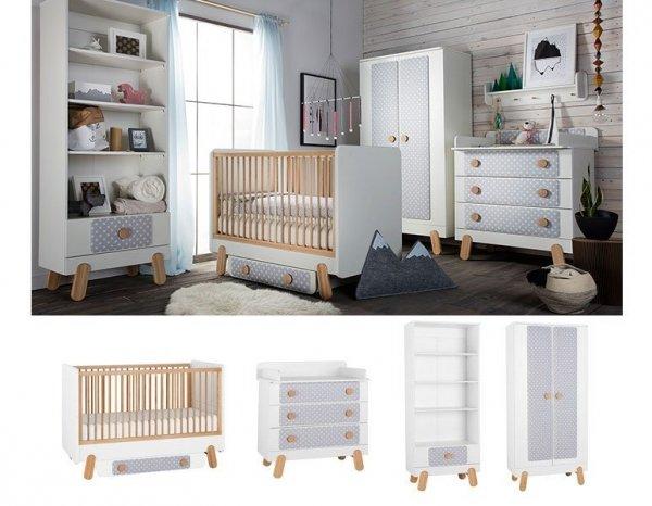 DOTTY Babyzimmer / Kinderzimmer Sparset | 4-teilig | Kinderbett + Wickelkommode + Schrank + Stehregal | weiß/grau