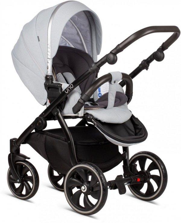 UNO TUTIS   Risso/ Hellgrau   Kombi-Kinderwagen 2 in 1 mit Liegewanne und Sportwagen   oder 3 in 1 mit Autoschale   Gestell in Schwarz