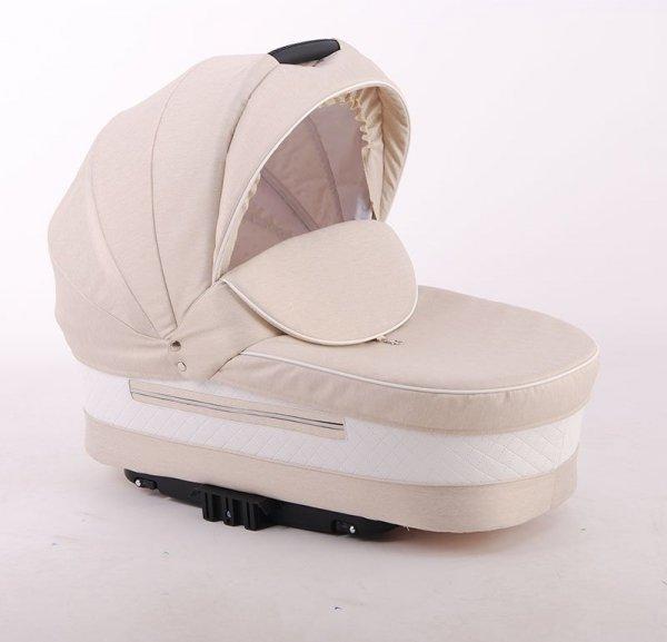 RETRO PRESTIGE | 2 in 1 mit Liegewanne und Sportwagen | oder 3 in 1 mit Autoschale | Kombi-Kinderwagen | Latte | Gestell in Weiß