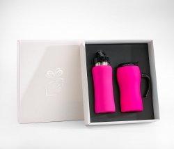 Zestaw FLUO bidon 600 ml + kubek termiczny z rączką 450 ml gumowany (różowy)